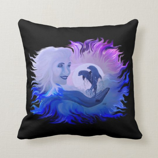 Woman and Dolphins in the Moonlight Throw Pillow