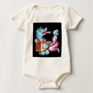 Woman and Fire Breathing Dragon Vintage Baby Bodysuit