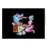 Woman and Fire Breathing Dragon Vintage Cards