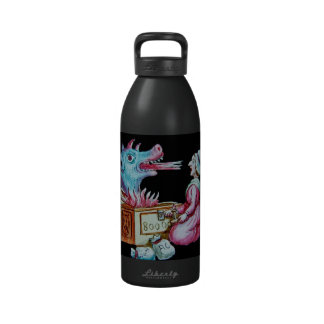 Woman and Fire Breathing Dragon Vintage Drinking Bottles