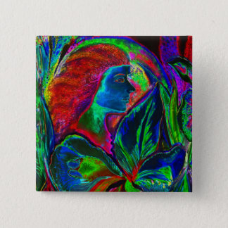 Woman and Flower, Deep Colours (m4sol) Pinback Button