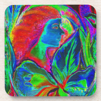 Woman and Flower, Patchwork Drink Coaster