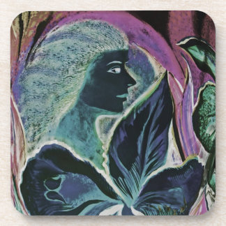 Woman and Flower, Patchwork (Muted) Drink Coaster