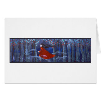 Woman and Forest Animal Spirits Greeting Card