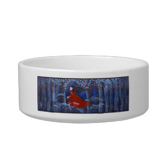 Woman and Forest Animal Spirits Cat Water Bowls
