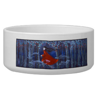 Woman and Forest Animal Spirits Dog Water Bowls
