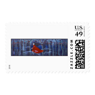 Woman and Forest Animal Spirits Stamp