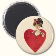 Woman and Heart Valenting Magnet