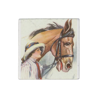 Woman and Horse 1 Stone Magnet