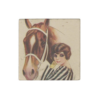 Woman and Horse 2 Stone Magnet