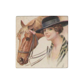 Woman and Horse 3 Stone Magnet