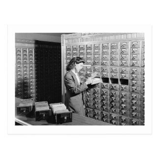 Woman and Library Card Catalog Vintage