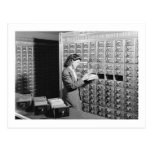 Woman and Library Card Catalog Vintage Postcard