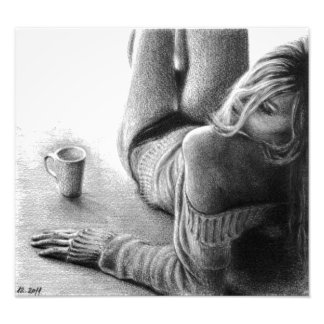 Woman and morning coffee Graphite Photo print