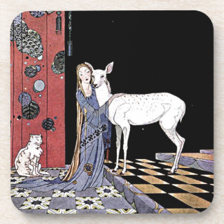 Woman and White Fawn Illustration Drink Coaster
