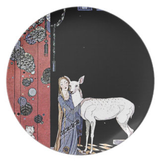 Woman and White Fawn Illustration Party Plate