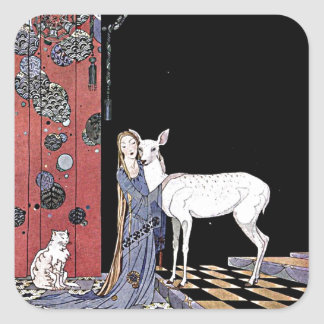 Woman and White Fawn Illustration Stickers