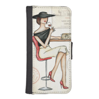Woman and Wine Glass iPhone SE/5/5s Wallet Case