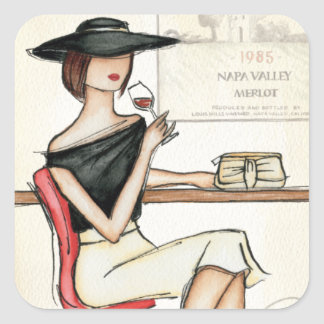Woman and Wine Glass Square Sticker