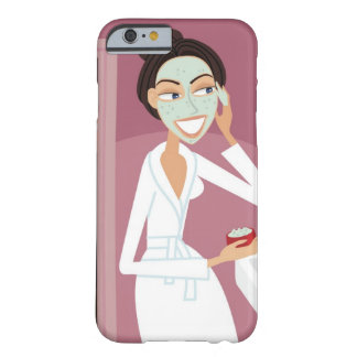 Woman applying facial mask barely there iPhone 6 case