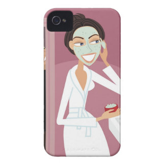 Woman applying facial mask iPhone 4 covers