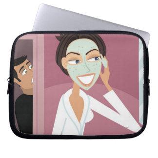 Woman applying facial mask computer sleeve