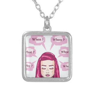 Woman Asking Wh Questions vector Illustration Square Pendant Necklace