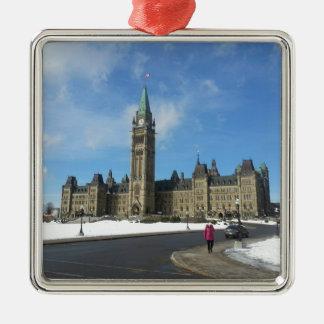 Woman at Canadian Parliament in Ottawa Metal Ornament