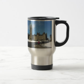 Woman at Canadian Parliament in Ottawa 15 Oz Stainless Steel Travel Mug