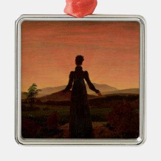 Woman at dawn metal ornament