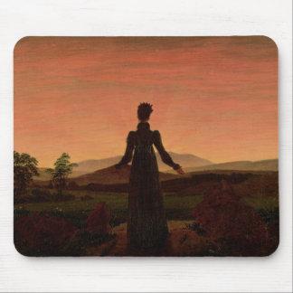 Woman at dawn mouse pad