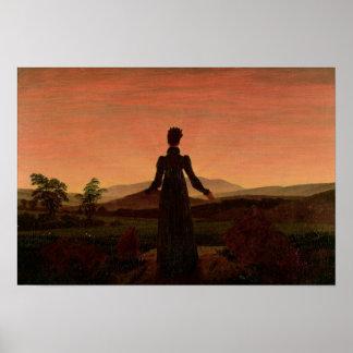 Woman at dawn poster