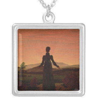 Woman at dawn silver plated necklace