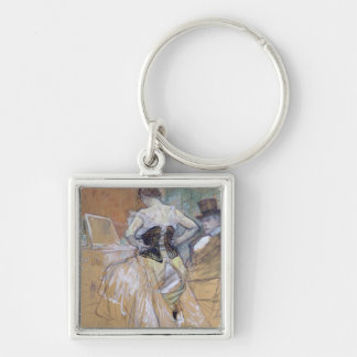 Woman at her Toilet, study for 'Elles', c.1896 Silver-Colored Square Keychain