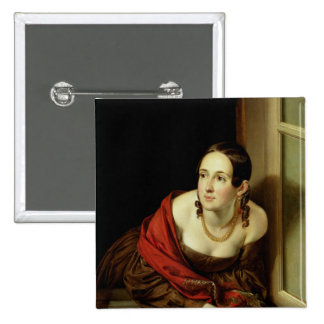 Woman at her Window or, The Wife of a Pinback Button