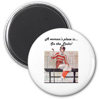 Woman at the links 2 inch round magnet
