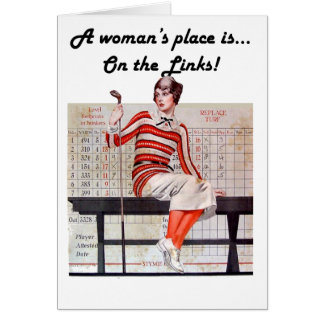 Woman at the links greeting card