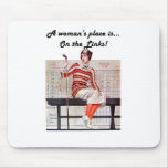 Woman at the links mouse pad