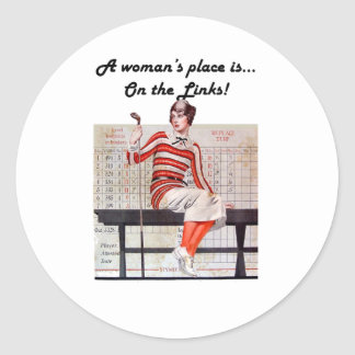 Woman at the links round sticker