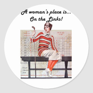 Woman at the links stickers