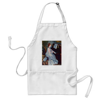 Woman At The Piano By Pierre-Auguste Renoir Adult Apron