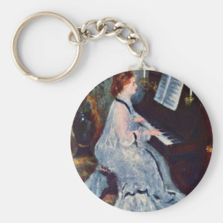 Woman At The Piano By Pierre-Auguste Renoir Basic Round Button Keychain