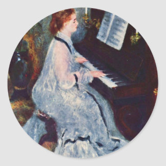 Woman At The Piano By Pierre-Auguste Renoir Classic Round Sticker
