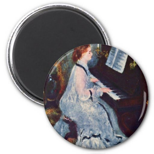Woman At The Piano By Pierre-Auguste Renoir Refrigerator Magnet
