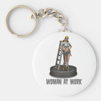 woman at work keychain