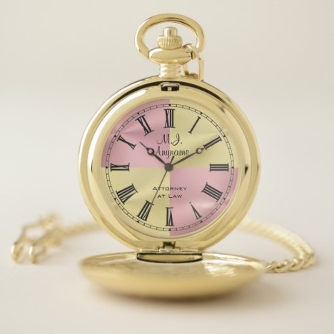 Woman Attorney golden and rose pink, Monogram Pocket Watch