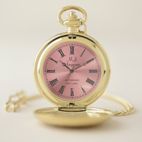 Woman Attorney luxury rose pink chrome-look Pocket Watch