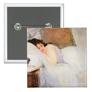 Woman Awakening, 1876 (oil on canvas) 2 Inch Square Button