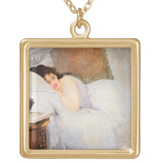 Woman Awakening, 1876 (oil on canvas) Square Pendant Necklace