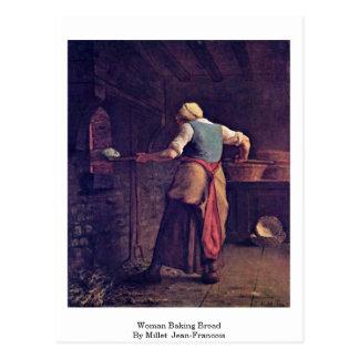Woman Baking Bread By Millet (Ii) Jean-Francois Postcard